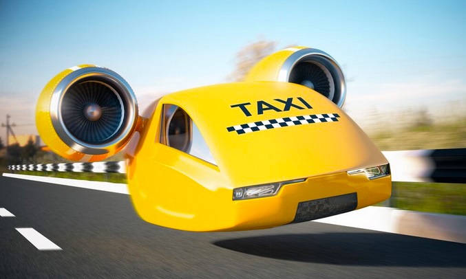 yellow and black taxi with aeroplane engines.